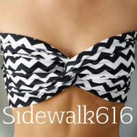 Black and White Chevron Bandeau Top Spandex Bandeau Bikini Swimsuit
