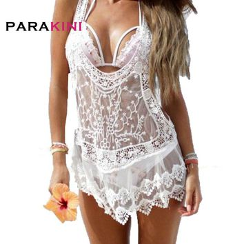 PARAKINI 2018 Women Tunic Cover Ups Sexy Strap Sheer Floral Lace Beach Dress Embroidered Crochet V-neck Mini White Beachwear