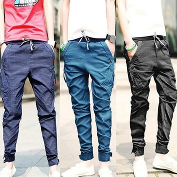 Mens Harem Pants  Tapered Drop Crotch Cuffed Jogger Casual Trousers  SV004023 = 1904265092