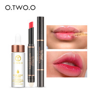 O.TWO.O 2pcs/set 12 Colors Lip Stick Matte Lipstick +24k Rose Gold Elixir Skin Make Up Essential Oil Make up set