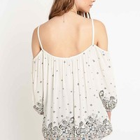 Ecote Peasant Cold-Shoulder Blouse in Ivory - Urban Outfitters