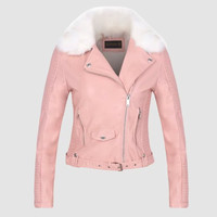 Women Winter Thick Warm Faux Leather Jackets Lady Fur Collar Flocking Outerwear Black Pink Zippers Motorcycle Coat