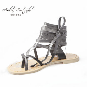 2017 summer shoes for woman genuine leather sandals rome flats sandals ankle strap cross-tied shoes lace-up gladiator sandals