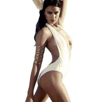 Party white deep V collar hanging neck open back conjoined swimsuit