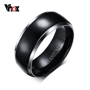 Mens Titanium Rings Black Men Engagement Wedding Rings Vnox Jewelry USA Size 100% Titanium Carbide