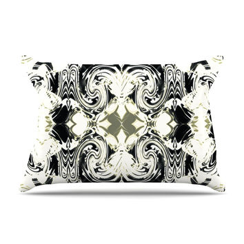 "Dawid Roc ""THe Palace Walls III"" White Abstract Pillow Case"