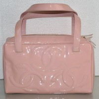 New CHANEL Classic Small Tote Patent Leather Shoulder Bag Handbag CC Logo Pink