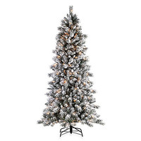7 1/2-Foot Flocked Barrington Artificial Pine Tree with 300 Clear Lights