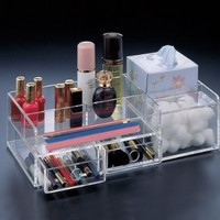 Makeup Organizer, 2 Drawers, Boutique Tissue Section and Cotton Ball Compartment.