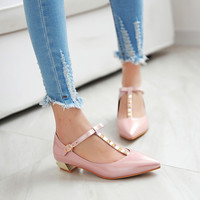 Studded Women Flat Shoes T Straps New 2016