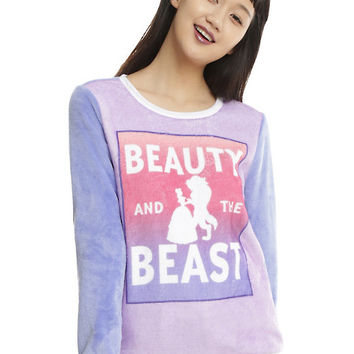 Disney Beauty And The Beast Ombre Girls Fuzzy Sweater