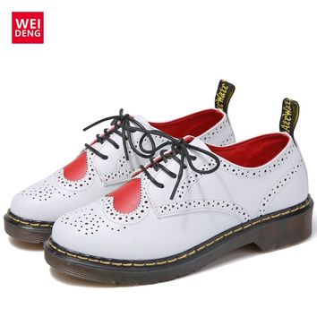 WeiDeng 2017 Yuppie Genuine Leather Women Brogue Lolita Ankle Boot Lace Classic Casual Equestrian Low Heels Oxfords Fashion Shoe