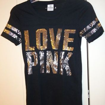 Victoria's Secret Love Pink sequin T-shirt black sequence bling XS extra small