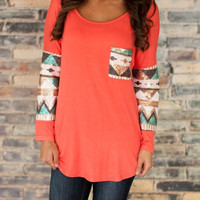 Orange Round Neck Sequined Pocket T-Shirt -SheIn(Sheinside)