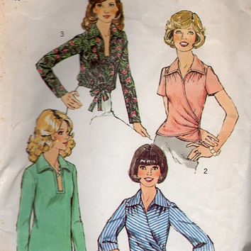 Retro Disco Fashion 70s Simplicity Sewing Pattern Wrap Front Blouse Pullover Top Deep V Neck Long Short Sleeves Tie End Bust 36
