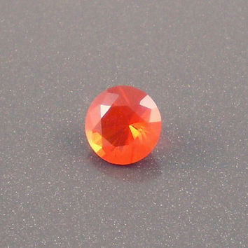 Fire Opal: 1.03ct Red Orange Round Shape Gemstone, Loose Natural Hand Made Mexican Faceted Precious Gem, OOAK Cut Crystal Jewelry Supply R3