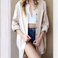 Tranquil Boyfriend Button Up- Taupe