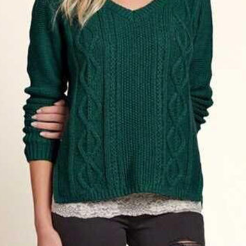 Green V Neck Cable Detail Side Split Long Sleeve Jumper