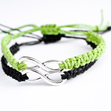 Infinity Bracelets Lime Green and Black