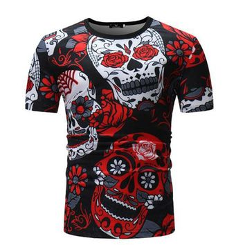 Men Hip Hop Style O-neck Short Sleeve T-shirt Skulls Printed 3D