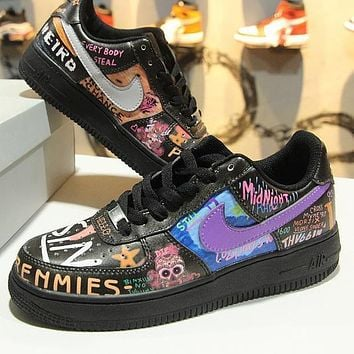 VLONE x Nike Air Force 1 Low AF1 Rock And Roll Graffiti 923092-100 Sport Shoes - Sale-1