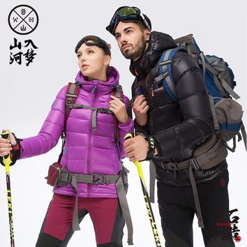 HIGHROCK Men Women Outdoor Hooded UltraLight 700FP Goose Down Jackets Warm Camping Hiking Skiing Jacket Winter Thick Caot V03