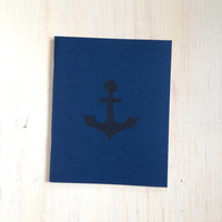 Medium Notebook: Anchor, Navy, Blue, Cute Notebook, For Him, Stocking Stuffer, Christmas, Journal, Unlined, Unique, Gift, Notebook, UUU4
