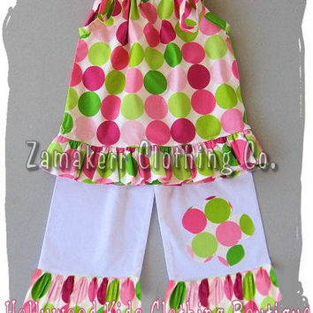 Custom Boutique Girl Clothing Polka Dot Pillowcase Top White Ruffled Pant Outfit Set 3 6 9 12 18 24 month size 2T 2 3T 3 4T 4 5T 5 6 7 8