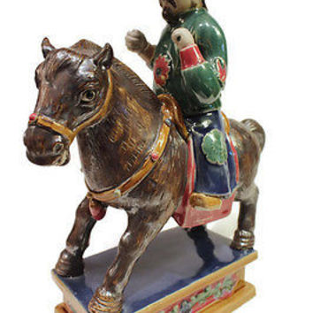 """Beautiful Hand Made Vintage Style Porcelain Chinese Man on Horse 13"""""""