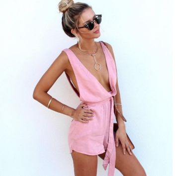 Deep v-neck low-cut behind open fork lace-up jumpsuits
