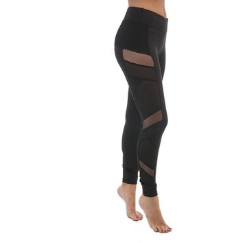 ACTIVEWEAR MESH PANEL LEGGINGS BLACK