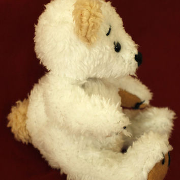 "Teddy ""Snowflake"" handmade teddy bear, own pattern,plush, white"