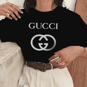 GUCCI Top Printed letters pattern loose lovers cotton T-shirt B-ZANDNR Black