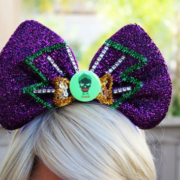 The Joker • Headband Bow • Joker Cosplay • Mickey Mouse Ears • Joker Art • Harley Quinn • Suicide Squad • Joker Fabric • Batman • Hair Bow