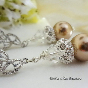 Swarovski Crystal Bronze Pearl Earrings Fall Dark Champagne Wedding Bridal Jewelry Bridesmaid Earrings Mother of Bride Groom Earrings Gift