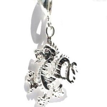 Sterling Silver Fire Breathing Dragon Pendant