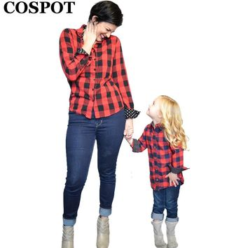 COSPOT Mom & Daughter Shirt Cotton Spring Autumn Red Plaid Long Sleeved Mother & Kids Matching Blouse