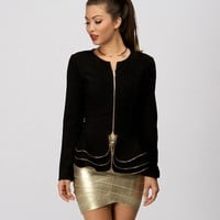 Sale-black Structured Peplum Jacket