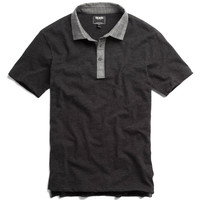 Chambray Collar Polo in Black