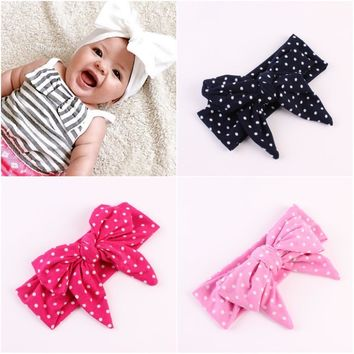New Baby Girl Tie Knot Bow Headband Elastic Dot Knitted Cotton Children Newborn Infant Hair Band Kids Summer Turban Bebe Bandana