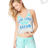 Womens LLD Live Love Dream Crop Tank Top - Gray, X-Small
