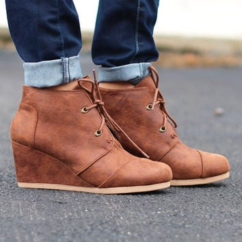 Olee Distressed Suede Wedge Bootie {Tan}