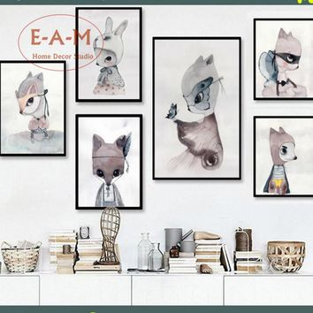 E-A-M Rabbit Girls Artwork Canvas Art Print Painting Poster Wall Pictures For Kids Room Home Decorative Bedroom Decor No Frame