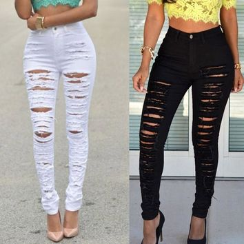 Fashion Women High Waisted Skinny Ripped Denim Pants Slim Pencil Jeans Trousers