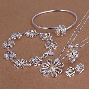 silver plated club jewelry sets necklace bracelet bangle earring ring SMTS288 MP