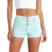 "Refuge ""Hi-Waist Shortie"" Colored Denim Shorts - Mint"