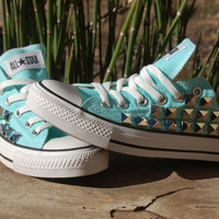 Studded Converse - Tiffany Blue/Coral or Beach Glass Converse Low Top