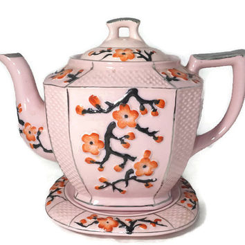 Vintage Asian Teapot with Saucer - Mid Century Ceramic, Floral Motif, Silver Accents, Made in Japan