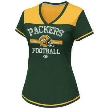 Green Bay Packers Women's Plus Sizes Curved Hem V-Neck T-Shirt - Green