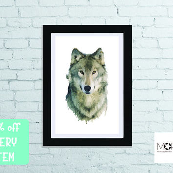 "Wolf Printable Art for instant download. Animal Original Print Decoration Nursery Wolves Bedroom Home Decor letter 8.5""x11"" tabloid 11""x17"""